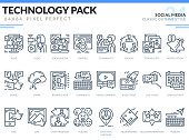 Social Media Icons Set. Technology outline icons pack. Pixel perfect thin line vector icons for web design and website application.