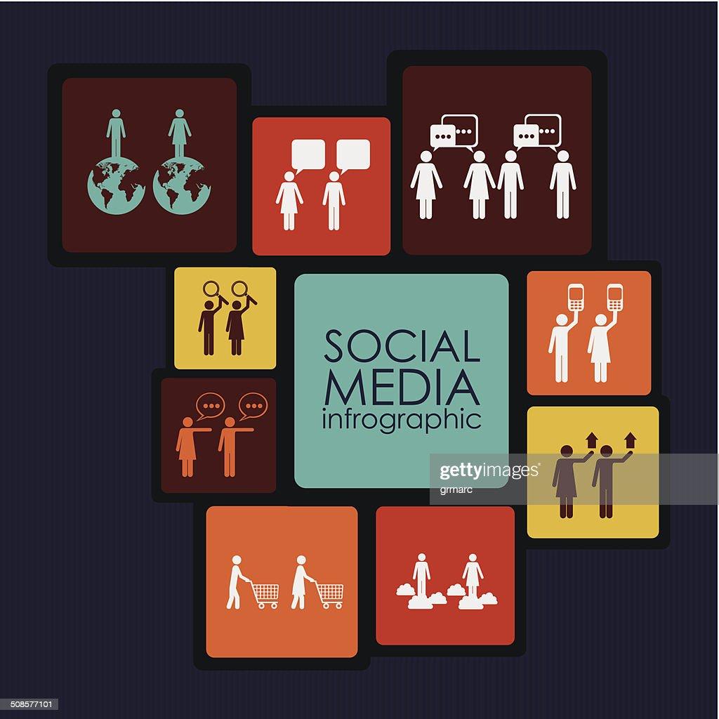 Les médias sociaux Infographie : Clipart vectoriel