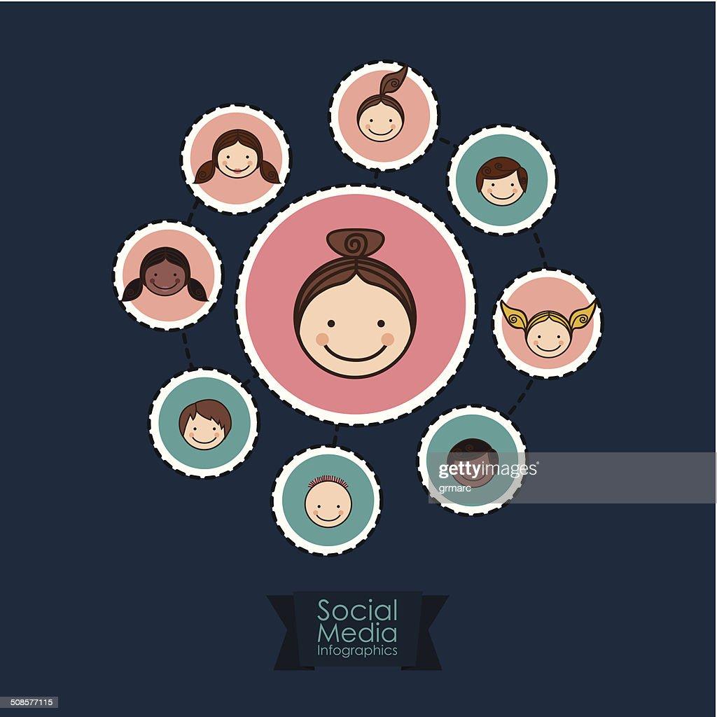 Social Media Infographic : Vector Art