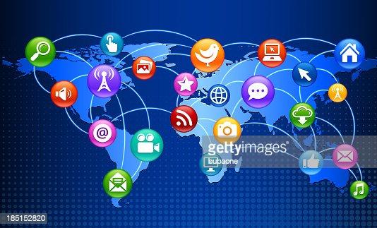 social media internet communication on world backgroundg vector art