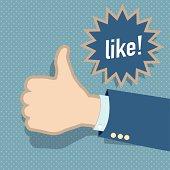 Social media like hand vector background