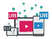 social media live stream concept vector