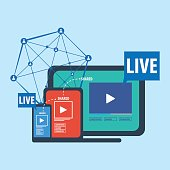 Social media live streaming concept vector