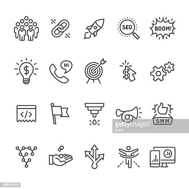 Social media marketing and SEO Business vector icons