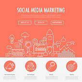 Social Media Marketing landing page template. Flat line design concept for social media marketing. Digital marketing. perfect for website banner and landing page.