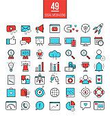 Social media marketing modern line icons set. SMM bright  vector symbols