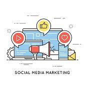 Social media marketing, SMM, network communication, internet advertising. Flat line art style concept. Vector banner, icon, illustration. Editable stroke.