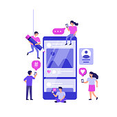 Social media marketing concept banner. Can use for web banner, infographics, hero images. Flat vector illustration isolated on white background.
