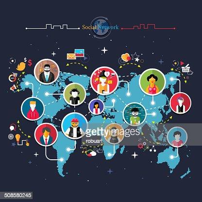 Social media network connection concept : Vector Art