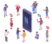 Social media isometry concept with people.  Flat   style  isometric vector illustration isolated on white background.