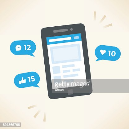 Social network notifications on mobile phone screen - new chat messages, new article likes and appreciations. Idea - Social networking. : stock vector