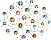 Multicolored vector illustration of social network.