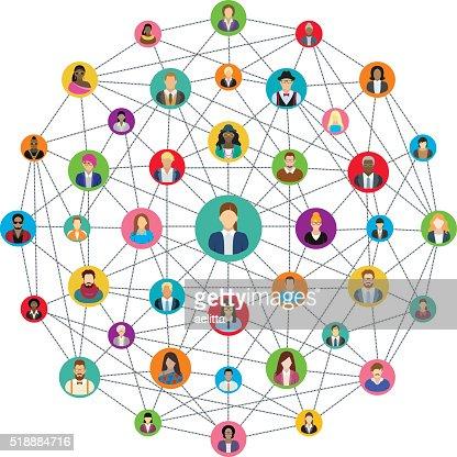 Social network sphere : stock vector