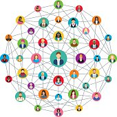 Social network sphere – vector illustration.