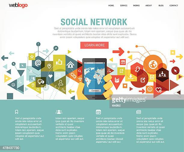 Social network web design layout