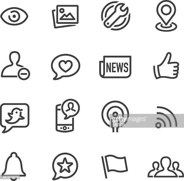 Icone di Social network-linea serie