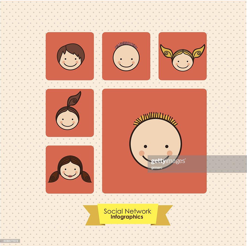 Réseaux sociaux Infographie : Clipart vectoriel