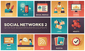 Social networks - modern set of flat design infographics elements. Colorful square images of blogger, blog, profile, stars, likes, hearts, news, discussion, RSS, photos, badge