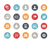 Vector icons over matte colors for your web or print projects.