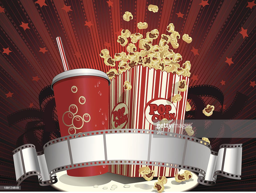 Soda Cup, Popcorn and Filmstrip Vector : Arte vectorial