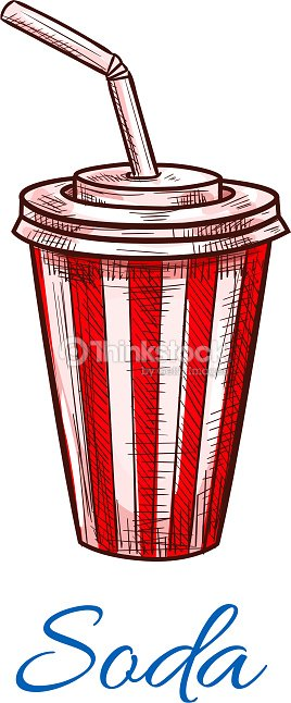 Soda drink striped fast food paper cup vector icon