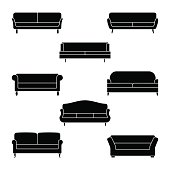 Sofa icon set. Vector illustration of couch pictogram on white