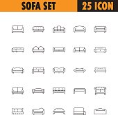 Sofa line icon. High quality outline vector pictogram on the topic of Sofa . Black line elements for web design or mobile app, logo, company's visit card, etc. Vector button EPS 10.