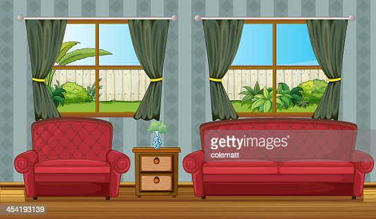 Sofaset and side table : Vector Art