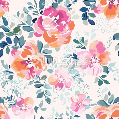 Soft pink Rose print - seamless background : stock vector