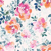 watercolor inspired pink rose floral print