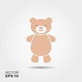 Soft toy, Teddy bear flat icon. Vector illustration