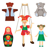 Soft toys and dolls of wood and plastic set. Cute teddy bears, nesting doll with pattern, clown puppet and girl in dress isolated cartoon vector illustration.