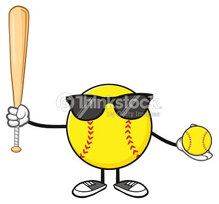 Softball Faceless Player Cartoon Mascot Character With Sunglasses Holding A Bat And Ball