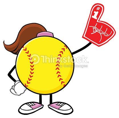 Softball Girl Faceless Cartoon Mascot Character Wearing A Foam Finger