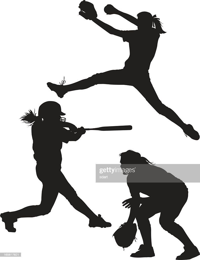 softball silhouettes vector art getty images baseball player vector art free basketball player vector art