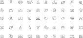 Business services software, management, success line icons