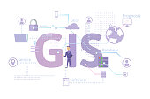 GIS Software Concept, Geographic Information System. Vector illustration on blue background.