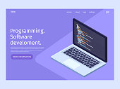 Software development and programming in isometric illustration.