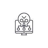 Software vulnerabilities line icon, vector illustration. Software vulnerabilities linear concept sign.