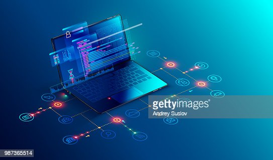 Software, web development, programming concept. Abstract Programming language and program code on screen laptop. Laptop and icons company network . Technology process of Software development : Arte vettoriale