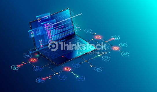Software, web development, programming concept. Abstract Programming language and program code on screen laptop. Laptop and icons company network . Technology process of Software development : stock vector
