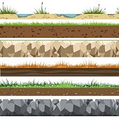 Soil horizontal patterns. Underground of land layers with rocks, limestone and grass gaming background vector illustration