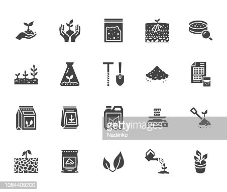 Soil testing flat glyph icons set. Agriculture, planting vector illustrations, hands holding ground with spring, plant fertilizer. Signs for agrology survey. Solid silhouette pixel perfect 64x64 : stock vector