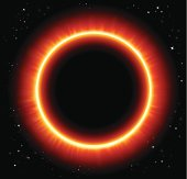 Solar eclipse vector background. Abstract lights solar eclipse with yellow sunbeams.