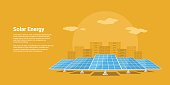 picture of solar batteries with mountains city silhouette on background, flat style concept of renewable solar energy