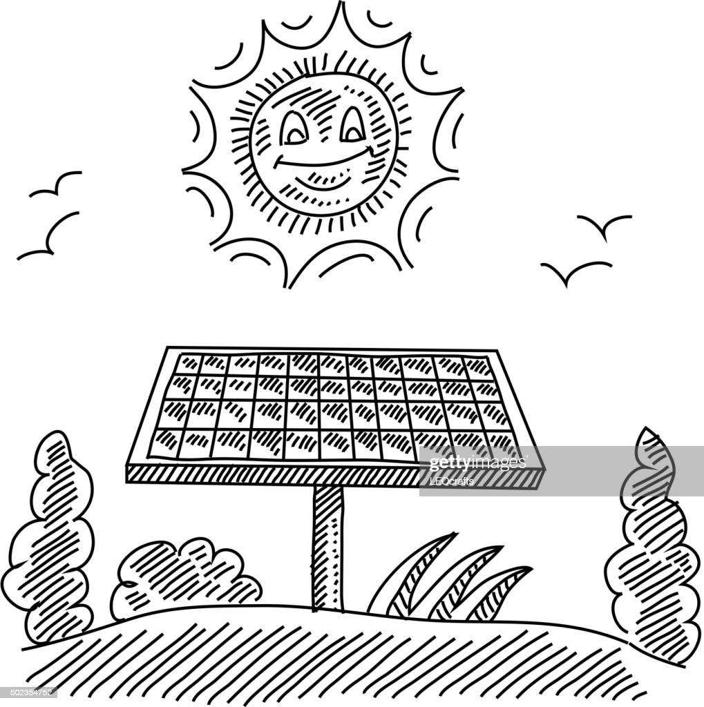 Solar Panel Drawing Vector Art Getty Images