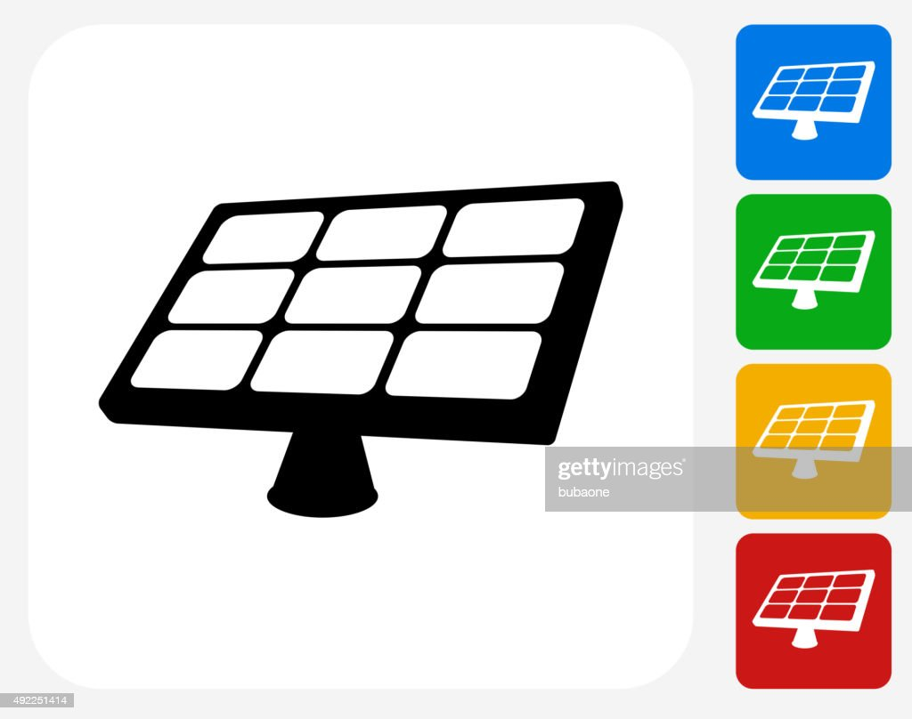 Solar panel icon flat graphic design vector art getty images for Solar panel blueprint