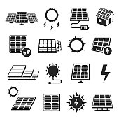 Solar panels technology, black and white icon set. Devices that convert light into electricity. Vector illustration on white background