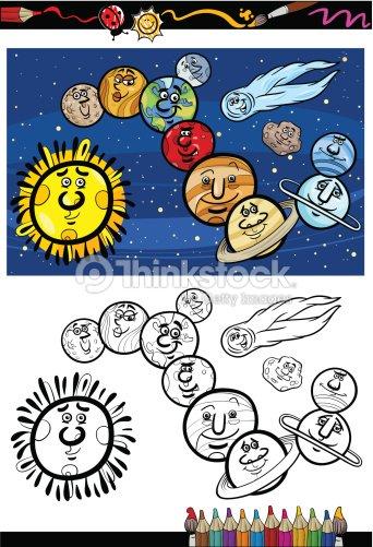Sistema Solare Fumetto Libro Da Colorare Arte Vettoriale Thinkstock