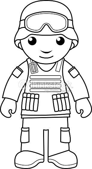 Soldado Para Colorear Página Para Niños Arte vectorial | Thinkstock